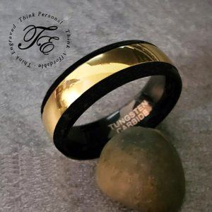 Mens Tungsten Wedding Band or Promise Ring 14k
